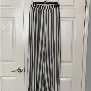 Gray and White Striped Wide Legged Pants.